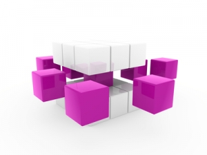 3d cube purple white